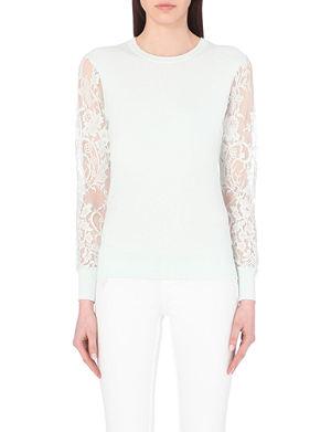 TED BAKER Nicholas lace-detail cotton sweater