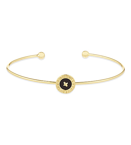 TED BAKER Teya enamelled button cuff (Black