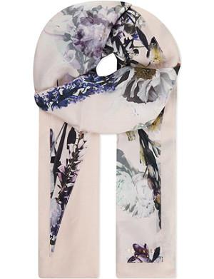 TED BAKER Torchlit floral print split silk scarf