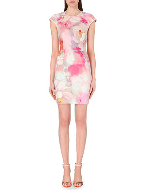 TED BAKER Quaro rose on canvas jersey dress