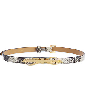 TED BAKER Exotic skinny leather belt