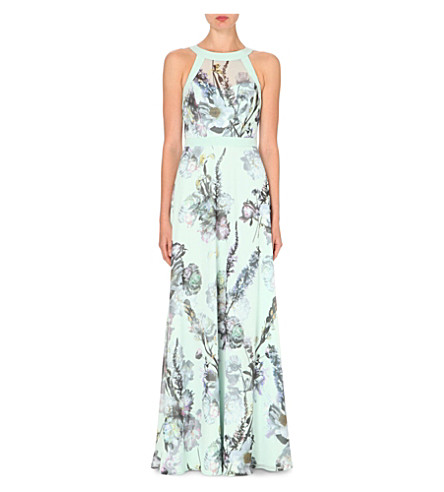 TED BAKER Marxel floral-print maxi dress (Pale green