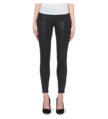 TED BAKER Wax-finish skinny mid-rise jeans (Black