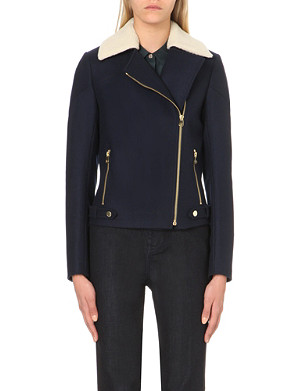 TED BAKER Ayda shearling-collar biker jacket