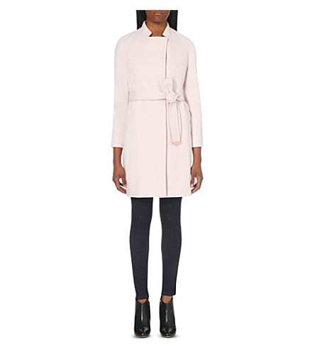 TED BAKER Appia wool-blend wrap coat (Pale pink