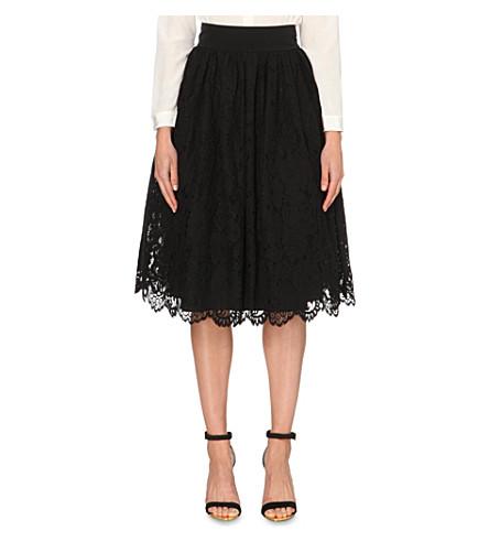 TED BAKER Izabel lace midi skirt (Black