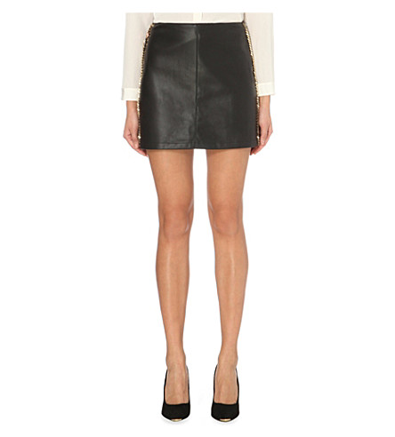 ted baker wyred faux leather mini skirt selfridges