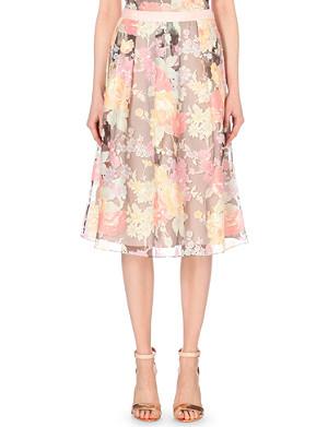 TED BAKER Alaena floral-burnout skirt
