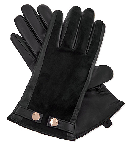 TED BAKER Leather and suede smart gloves (Black