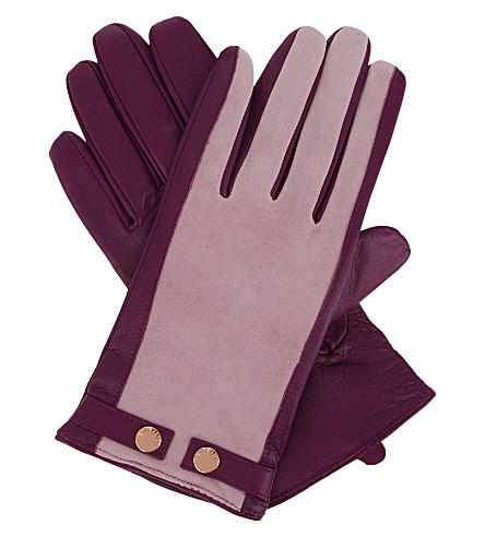TED BAKER Leather and suede smart gloves (Pale pink