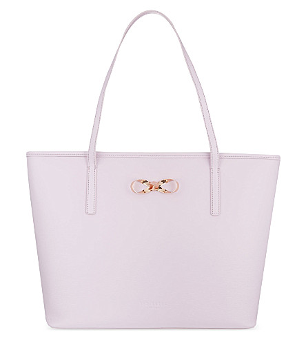 TED BAKER Bow-detail leather shopper bag (Pale pink