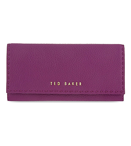 TED BAKER Stab-stitch leather matinee wallet (Grape
