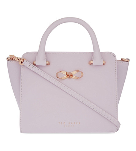 TED BAKER Perie bow mini leather tote (Pale pink