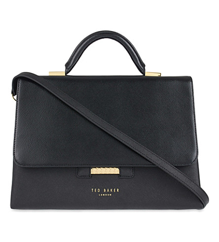 TED BAKER Maisie crosshatch small leather tote (Black