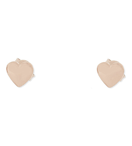 TED BAKER Harly mini heart earrings (Rosegold+col