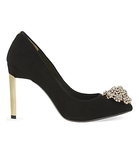 TED BAKER Brooch suede courts (Black