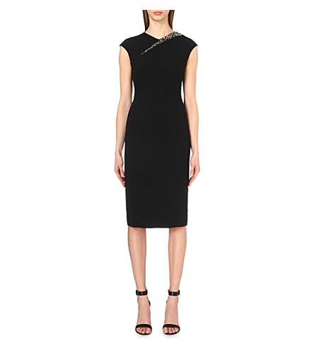 TED BAKER Floray jewel-embellished cut-out crepe dress (Black