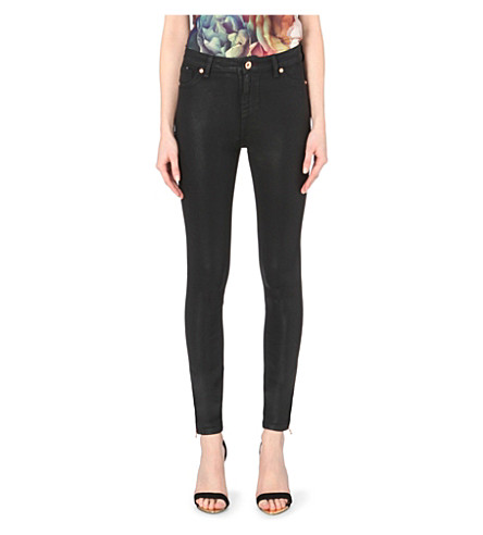 TED BAKER Skinny-fit high-rise coated jeans (Black
