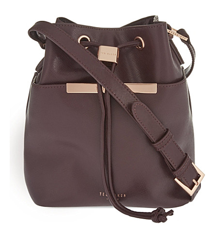 TED BAKER Ersilda leather bucket bag (Oxblood