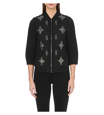 TED BAKER Embellished bomber jacket (Black