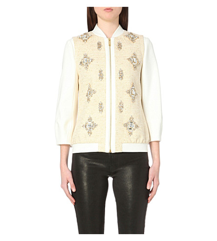 TED BAKER Embellished bomber jacket (Cream