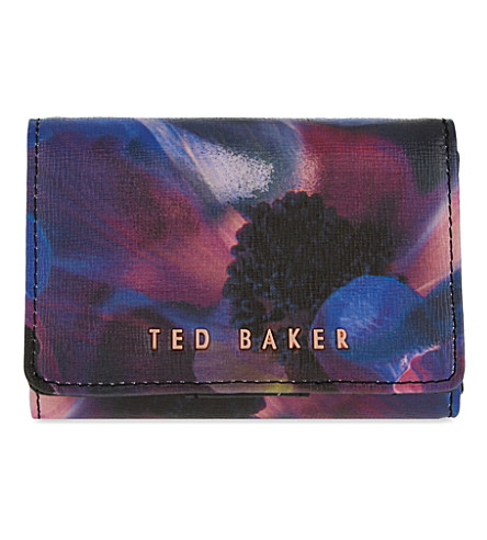 TED BAKER Cosmic Bloom mini leather coin purse (Black