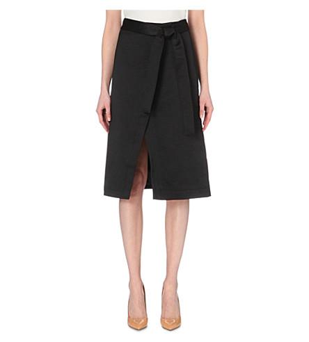 TED BAKER Simonee midi satin wrap skirt (Black