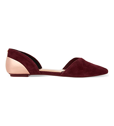 TED BAKER Cutout pointed toe suede flats (Dark red