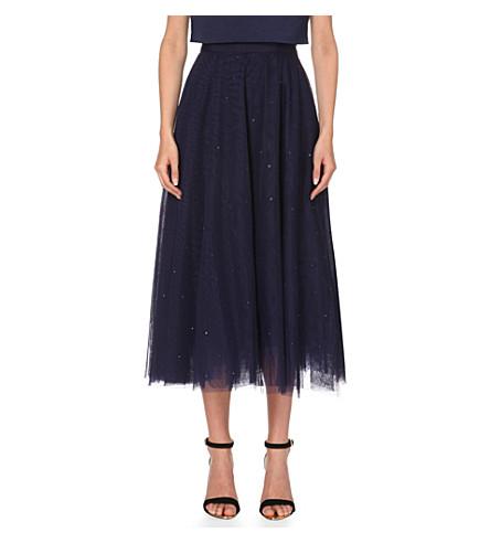 TED BAKER Embellished tulle midi skirt (Navy