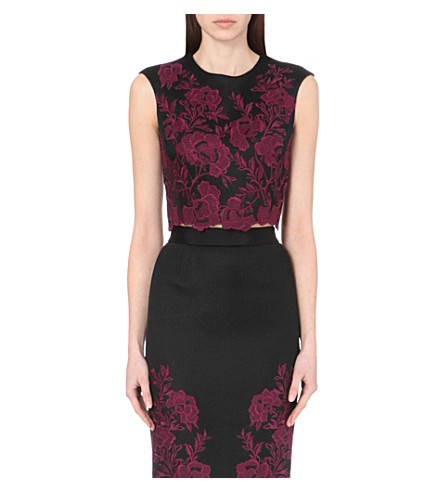 TED BAKER Vynus lace mesh crop top (Dark+red