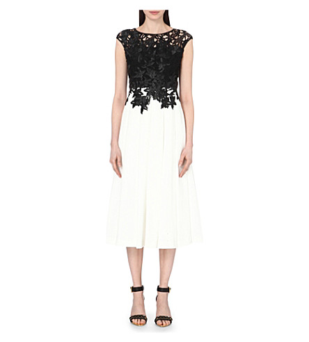 TED BAKER Ilsa embroidered appliqué midi dress (Black