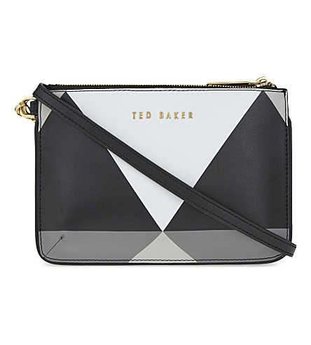 TED BAKER Leana harlequin leather cross-body bag (Black