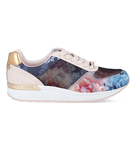 TED BAKER Phressya II floral print trainers (Mid pink