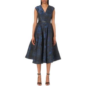 Izita leaf-jacquard dress