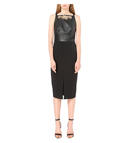 8c8050d75ea6dc TED BAKER Kimla leather-panel embellished dress (Black