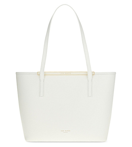 TED BAKER Cross-hatch leather small shopper (White