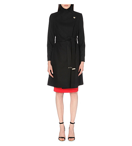 TED BAKER Longline wool-blend wrap coat (Black