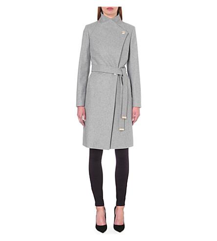 TED BAKER Longline wool-blend wrap coat (Grey marl