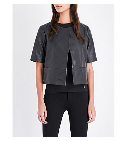 TED BAKER Short-sleeve leather jacket (Black