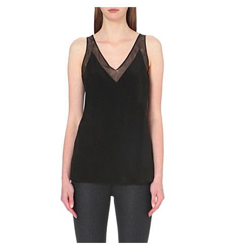 TED BAKER Leiaa mesh-insert silk top (Black