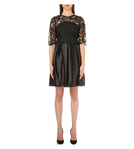 TED BAKER Maaria lace and satin dress (Black