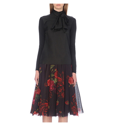 TED BAKER Babri satin bow-neck top (Black