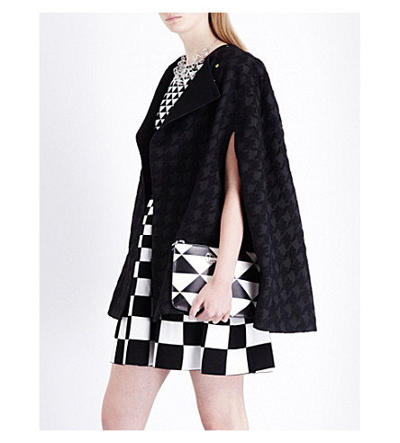 TED BAKER Dannae houndstooth woven cape (Black