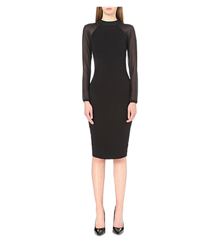 TED BAKER Sheer-sleeve jersey midi dress (Black