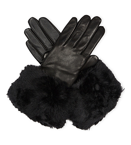 TED BAKER Emree leather and faux-fur gloves (Black