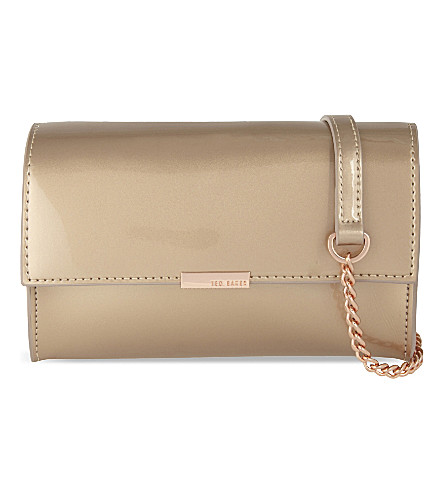 TED BAKER Patent leather cross-body bag (Rosegold col