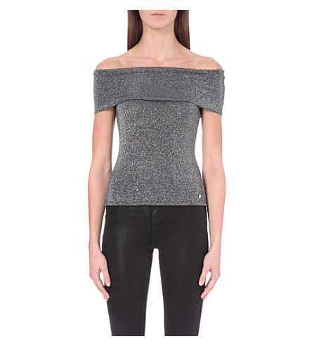 a40d8922d1472 TED BAKER Off-the-shoulder metallic top (Black