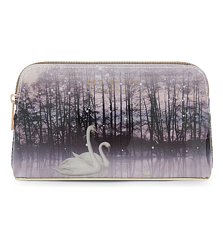 TED BAKER Loisa sparkling swan make-up bag (Straw