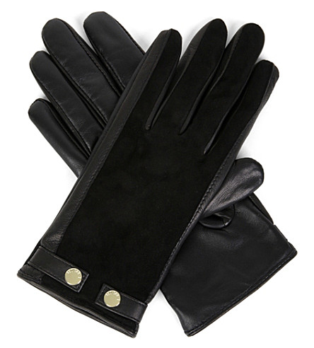 TED BAKER Sue suede and leather gloves (Black