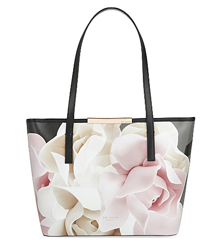 TED BAKER Lorrcan porcelain rose small leather shopper (Black